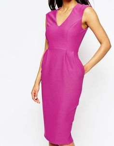 Image 3 ofASOS Wiggle Dress with V Neck in Textured Jersey