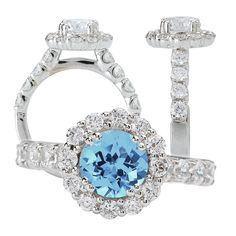 18k Elite Collection cultured 6.5mm round Aquamarine Spinel engagement ring with natural diamond halo