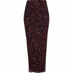 Red sequin embellished tube maxi skirt - maxi skirts - skirts - women