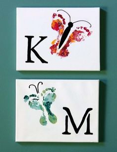 Kid's footprint art. - Top 28 Most Adorable DIY Wall Art Projects For Kids Room