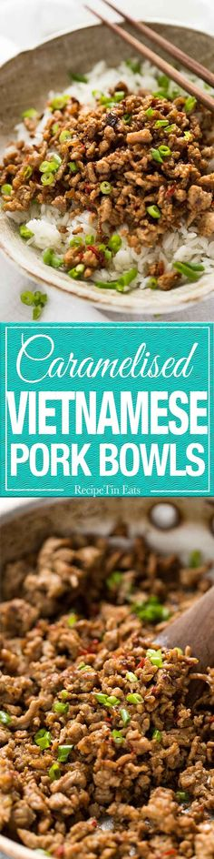 Vietnamese Caramelised Pork Bowls - garlic, ginger, chili, fish sauce and sugar is all you need to make these irresistible bowls packed with flavour! www.recipetineats.com