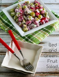 Easy Recipe for Red and Green Fruit Salad; this healthy salad has anti-oxidant rich berries! [from KalynsKitchen.com] #FruitSalad #EasyRecipe #HealthyFruit