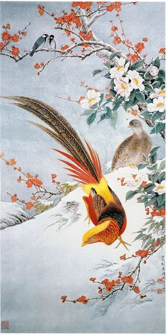 Japanese Pheasant Bird in Snow by Asian Ito Jakuchu Counted Cross Stitch Pattern