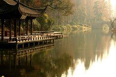 Chinese Gardens - Hangzhou pagoda bridge in China