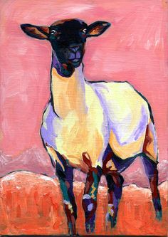 Sheep original painting 5 x 7 inches