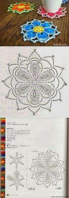 Crochet mandala diagram circles Ideas for 2019 Crochet Diagram, Crochet Chart, Thread Crochet, Crochet Motif, Crochet Doilies, Crochet Stitches, Crochet Flower Patterns, Crochet Designs, Crochet Flowers