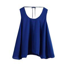Plain Round Neck Sleeveless Chiffon Top ❤ liked on Polyvore featuring tops, sleeveless tank, chiffon tank top, chiffon sleeveless top, blue tank top and blue chiffon top