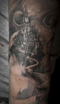 Castle tattoos can be some of the most detailed tattoo designs in the world when done correctly. The castle tattoo is not a mainstream tattoo, but due to the many Dragon Tattoo Back Piece, Dragon Sleeve Tattoos, S Tattoo, Body Art Tattoos, Arabic Tattoos, Tatoos, Unique Tattoos, Small Tattoos, Castle Tattoo