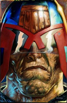 One of the great iconic Judge Dredd images,slightly more 'in-yer-face',if that's possible(!),than the actual finished cover version(Prog1273,9Jan'02)from current Dredd maestro,Greg Staples.