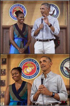 #44th #President #POTUS Of The United States  Of America #CommanderInChief #BarackObama #FirstLady #FLOTUS Of The United States  Of America #MichelleObama at Marine Corps Base Hawaii in Kailua, 12/25/16