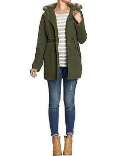 Love this Jacket! Especially the draw string waist! ($75 Old Navy Drawstring Faux Fur Cinch-waist Canvas Parka Coat Jacket)