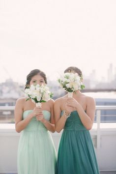 Green shades bridesmaid dresses #wedding