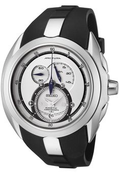 Price:$366.45 #watches Seiko SNL049P1, This Seiko Chronograph Kinetic timepiece combines both the Sporty and sophisticated looks.