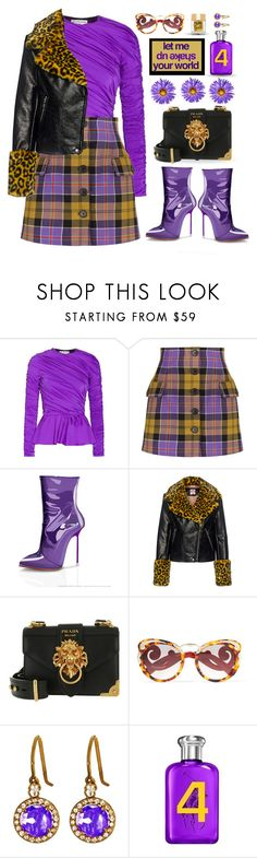 """""""Ultra Violet"""" by neverboring ❤ liked on Polyvore featuring Balenciaga, Alessandra Rich, Shrimps, Prada, Suzanne Kalan, Ralph Lauren, Too Faced Cosmetics, plaid, violet and fauxfur"""