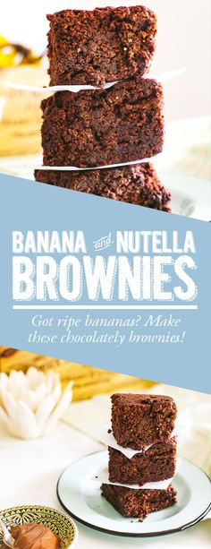 Chocolately, nutella flavored banana brownies. These banana and nutella brownies are so fudgy and crumbly. Use up your ripe bananas with these chocolately treats! #recipes #food #desserts #brownies #sweets
