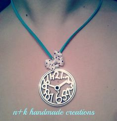 Handmade pendant with silver clock and white by thenkcreations