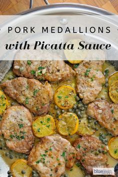 Pork Medallions with Picatta Sauce Pork tenderloin medallions pan fried and finished with a Picatta sauce of white wine, lemon juice and capers. Serve over rice or pasta for a perfect and easy meal. Pork Chop Recipes, Meat Recipes, Cooking Recipes, Pork Cutlet Recipes, Pork Meals, Cooking Pork, Game Recipes, Recipes Dinner, Pork Picatta Recipe