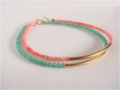 Gold filled bar and coral beads bracelet  Friendship by Cecileis, $26.00