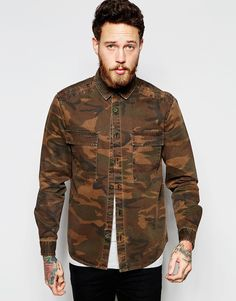 ASOS+Military+Camo+Overshirt+With+Two+Pockets+In+Long+Sleeve
