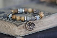 Rustic Romance Stretch Bracelet // Stacking by MossyCreekStudio