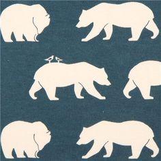 blue 'Bear Hike' bears birch knit organic fabric from the USA 1