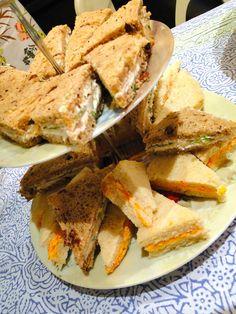 Pimento cheese, turkey + scallion cream cheese, and artichoke heart + tomato + mozzarella tea sandwiches (for Mother's Day)