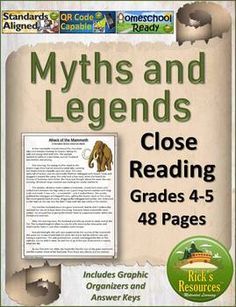 Close Reading Myths and Legends - Print and Digital Versions - Distance Learning Reading Comprehension Activities, 5th Grade Reading, Context Clues, Blended Learning, School Programs, Close Reading, Reading Levels, Creative Teaching, Common Core Standards