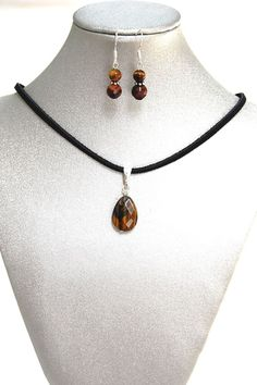 Natural Gemstone Tiger's Eye Necklace Earrings Brown Cord Fengshui Chakra Gift @Gail Regan Truax://www.ebay.com/usr/simplygems2014.