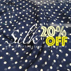 Your place to buy and sell all things handmade Polka Dot Fabric, Blue Fabric, Polka Dots, Summer Vest, Let's Have Fun, Yellow Lace, Diy Dress, Silk Chiffon, Blue Fashion