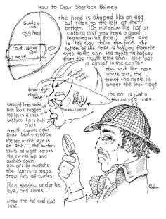 How to Draw Worksheets for Young Artist: How To Draw Sherlock Holmes Worksheet (classic pose). you can download the worksheet and the project notes at my blog. http://drawinglessonsfortheyoungartist.blogspot.com/2013/09/how-to-draw-sherlock-holmes-worksheet.html