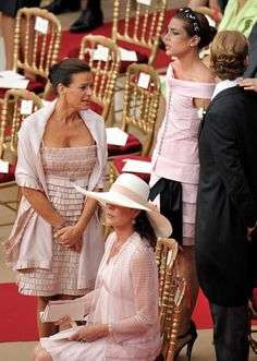 Princess Stephanie and Princess Caroline with Charlotte Casiraghi and Andrea Casiraghi at the religious wedding of Prince Albert of Monaco and ms. Charlene Wittstock on July 2, 2011 at the Prince's Palace in Monaco