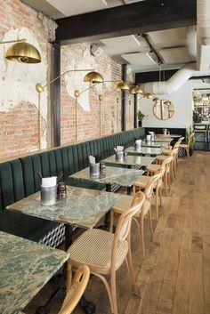 Restaurant le HÀ vieux port de Montreal, Qc par La chambre design & co. Cafe Restaurant, Restaurant Seating, Restaurant Concept, Luxury Restaurant, Restaurant Ideas, Seafood Restaurant, Cafe Bar, Bar Deco, Deco Cafe