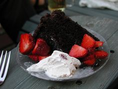 Summer food: My birthday's in the summer, so: chocolate cake and strawberries with slightly melty ice cream