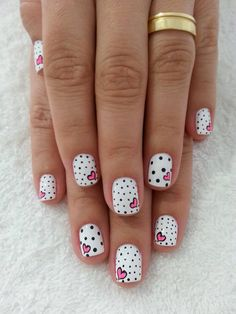 Valentine nails - hearts + black and white polka dots