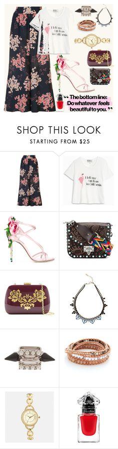 """Statement T shirt"" by gadinarmada-1 ❤ liked on Polyvore featuring Rebecca Taylor, Wildfox, Dolce&Gabbana, Valentino, Serpui, Joomi Lim, Chan Luu, Avenue, Guerlain and vintage"