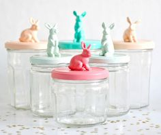 For Easter paint little figurines on recycle glass jars