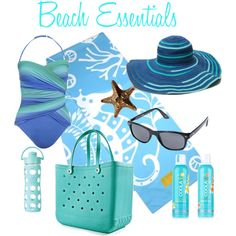 Beach Essentials - inspired by turquoise.  Gottex Spellbound sun hat, Travel Lux Beach Towel by SolEscapes, Bogg Bag, and Sunscreen by COOLA.   #beach #beachtowels #vacation #beachhat #sunhat  www.solescapes.com