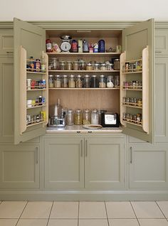 via woodworkslewes/This would be great if there was a cooking island facing perpendicular to the cabinet-would be great spice cabinet- Stone Kitchen, Old Kitchen, Kitchen And Bath, Kitchen Interior, Kitchen Decor, Kitchen Design, Kitchen Paint Colors, Painting Kitchen Cabinets, Home Organisation