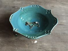 New to JenniferBurkePottery on Etsy: Ceramic Jewelry Bowl Earring Bowl and Ring Holder in Blue (45.00 USD)