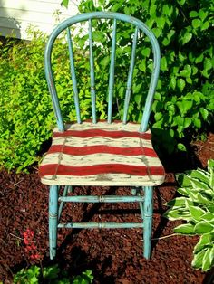I can find these chairs easily.   I would use blue milk paint for the background.  The stripes look easy enough to duplicate.Painted chair by Carol's Paint Creations https://www.facebook.com/pages/Carols-Paint-Creations