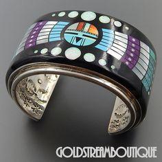 Amazing Massive RN Native American Museum Quality Rare Find Gemstone Micro Inlay Sun God Cuff Bracelet