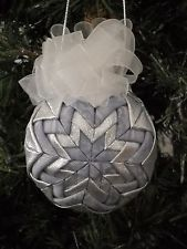 Christmas Quilted Ball Ornament Light Blue and Silver One of a Kind Handmade #14