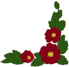 Red Flower Corner Embroidery Design