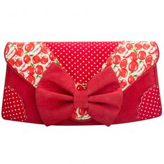 Snapple Clutch Red - Clutch bag featuring apple and polka dot prints and finished with a large red bow. Pair with the matching Snapple shoes.