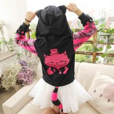 Cheshire cat hoodies with ears and tail womens cosplay sweatshirt