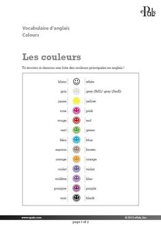 Teaching material for English language learning: Colours, grade 6 (in French)