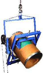 Adjustable Drum Carriers enable you to pour a fiber or steel drum or cylinder above your reach. They adjust to a range of diameters and allow you to control drum tilting 360° in either direction. Rubber faced grip pads are tightened by hand-crank to fit drum diameter. Dispense drum contents with your hoist or crane