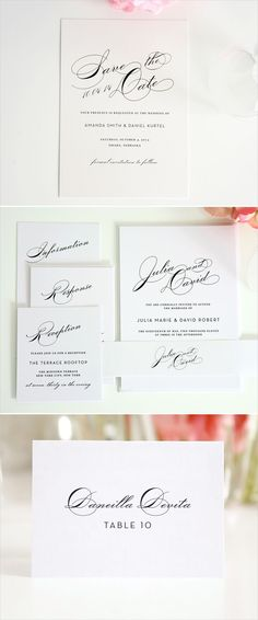 Vintage Typography Wedding Invitations in Silver Vintage glam - best of wedding invitation design fonts