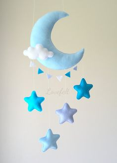Bebé móvil móviles de la luna Moon stars por lovefeltmobiles