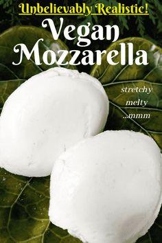 Recipes With Mozzarella Cheese, Vegan Cheese Recipes, Vegan Foods, Vegan Snacks, Vegan Dishes, Dairy Free Recipes, Raw Food Recipes, Almond Cheese Recipe, Coconut Cheese